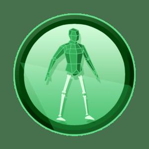 osoba koja je pola hologram pola kostur, rigging skinning, 3D animacija, video produkcije, produkcija video sadržaja