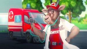 ilustracija Oryxa u ulozi doktora sa stetoskopom ispred bolnice, art direction, copywriting, tv reklama, kreativna agencija, produkcija video sadržaja