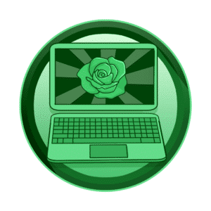 prikaz cvijeta ruže na ekranu laptopa, online prisutnost, video produkcija, produkcija video sadržaja