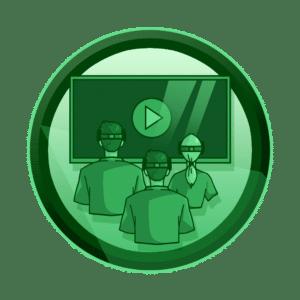 zaposlenici sa VR naočalama gledaju u ekran sa play ikonom, educirajte svoje zaposlenike, virtualna i proširena stvarnost, VR, AR, XR, interaktivan sadržaj, interaktivni sadržaji