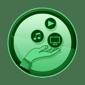 ruka koja drži ikone za glazbu, video i igrice, multimedijske instalacije, interaktivan sadržaj, interaktivni sadržaji