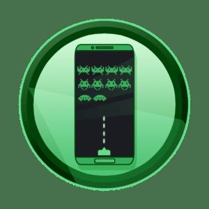 mobitel sa igircom space invaders na ekranu, video igre, razvoj aplikacija i igara, interaktivni sadržaj, interaktivni sadržaji